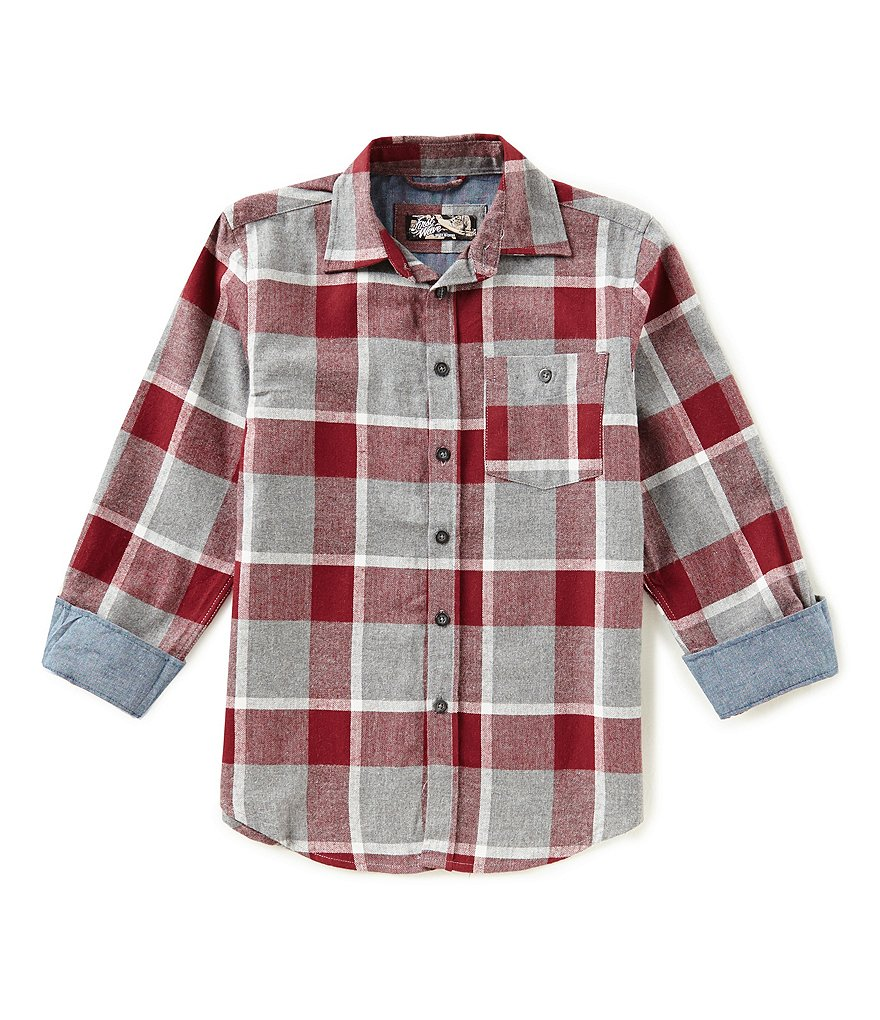 First Wave Big Boys 8-20 Plaid Long-Sleeve Button-Down Shirt