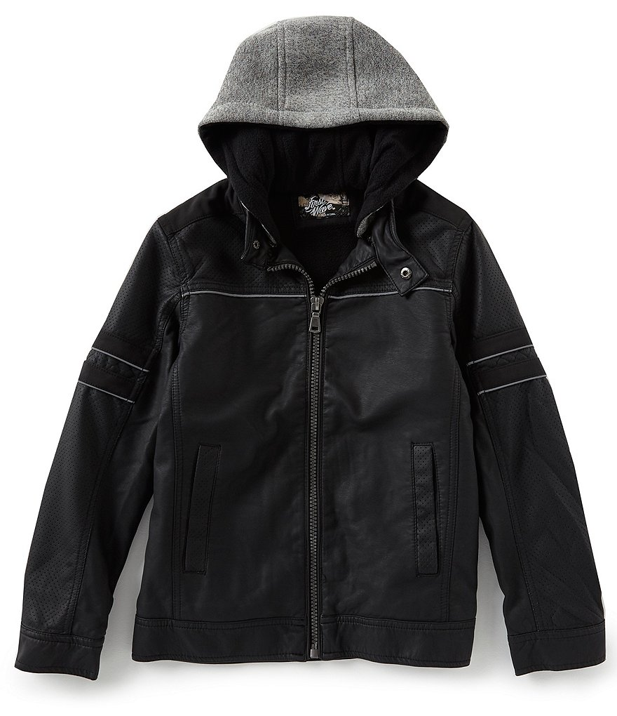 First Wave Little Boys 2T-7 Faux Leather Reflective Jacket with Hood