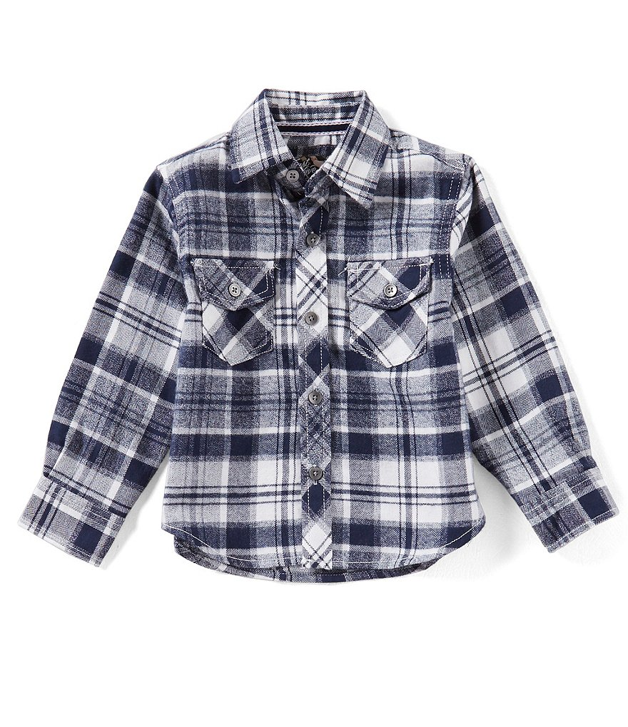 First Wave Little Boys 2T-7 Flannel Plaid Button-Down Shirt