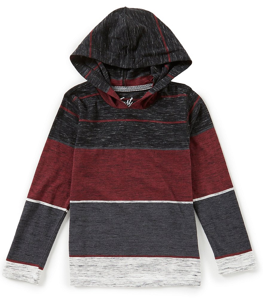 First Wave Little Boys 2T-7 Striped Hooded Pullover Shirt