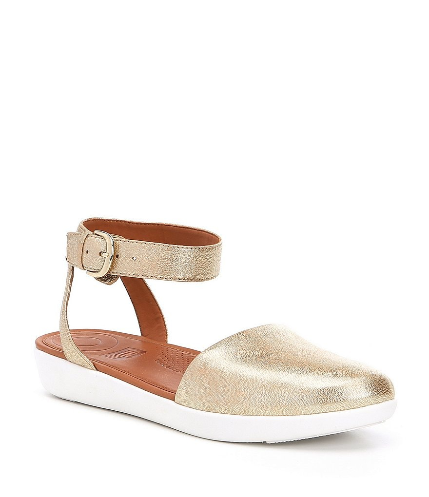 FitFlop Cova Closed-Toe Metallic Leather Sandals