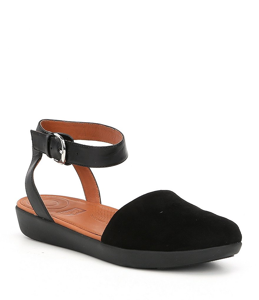 FitFlop Cova Closed-Toe Suede Ankle Strap Sandals