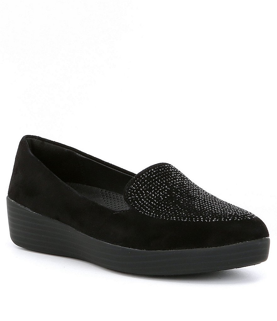 FitFlop Sparkly Suede Crystal Detail Loafers