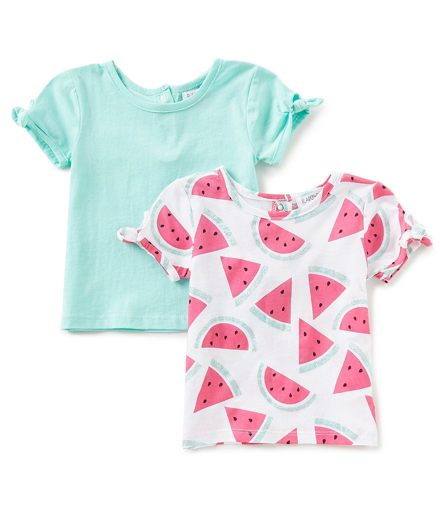 Flapdoodles Baby Girls 12-24 Months 2-Pack Printed Tie-Sleeve Tee Set