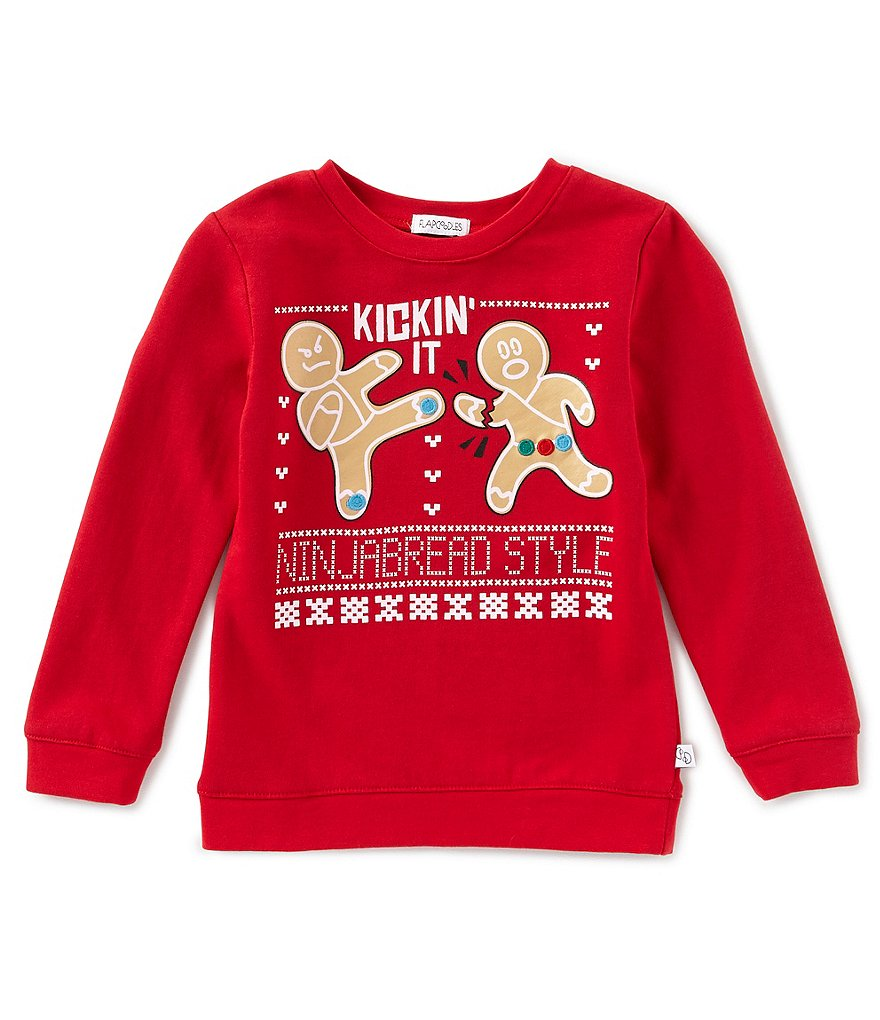 Flapdoodles Little Boys 2T-7 Kickin' It Ninjabread Holiday Pullovers