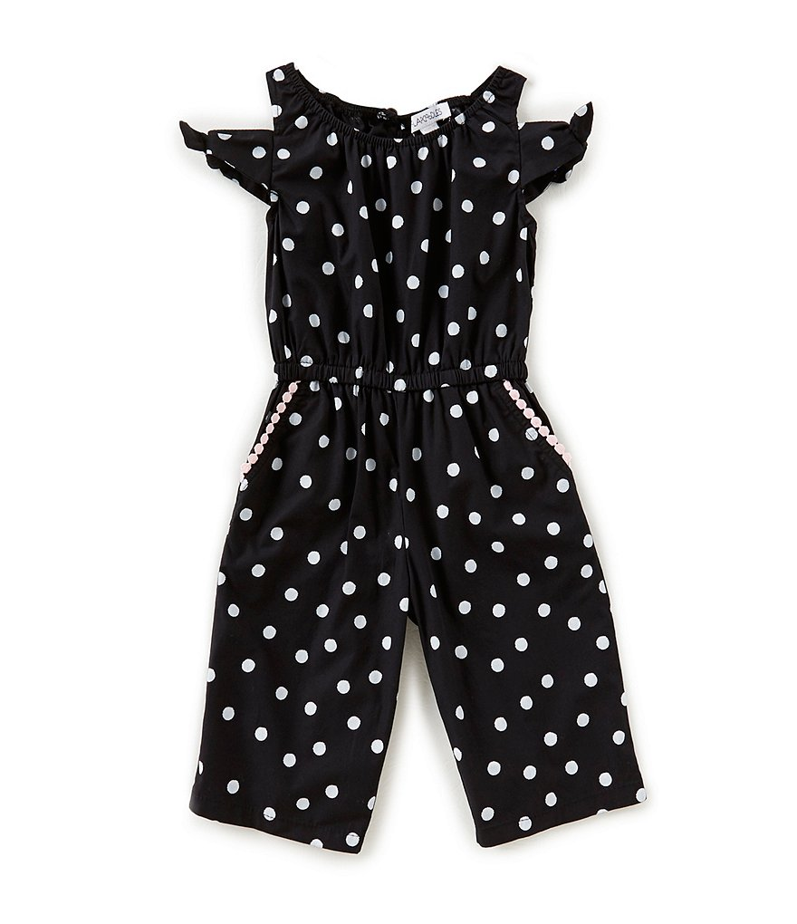 Flapdoodles Little Girls 2T-6X Dotted Cold-Shoulder Jumpsuit
