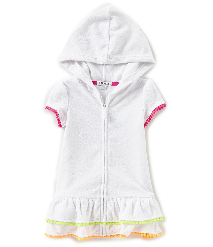 Flapdoodles Little Girls 2T-6X French Terry Hooded Swimsuit Cover-up