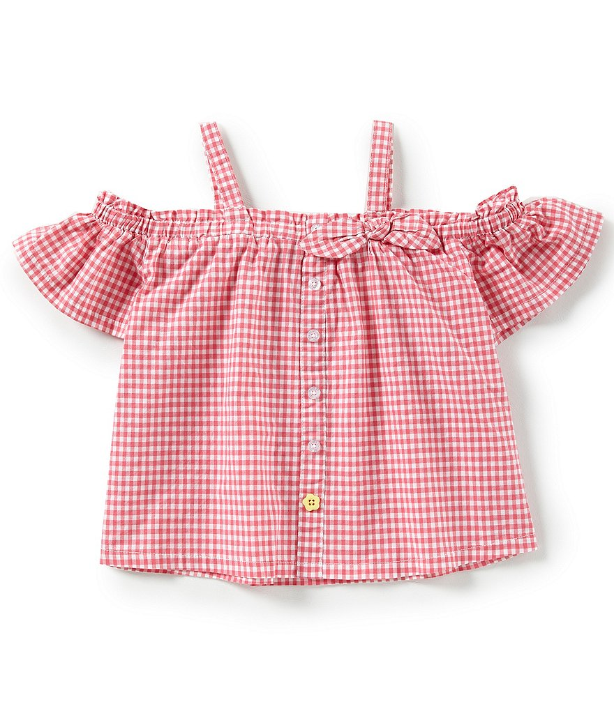Flapdoodles Little Girls 2T-6X Gingham Cold-Shoulder Top