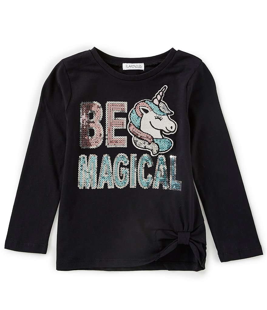 Flapdoodles Little Girls 2T-6X Knot-Front Unicorn Graphic Tee
