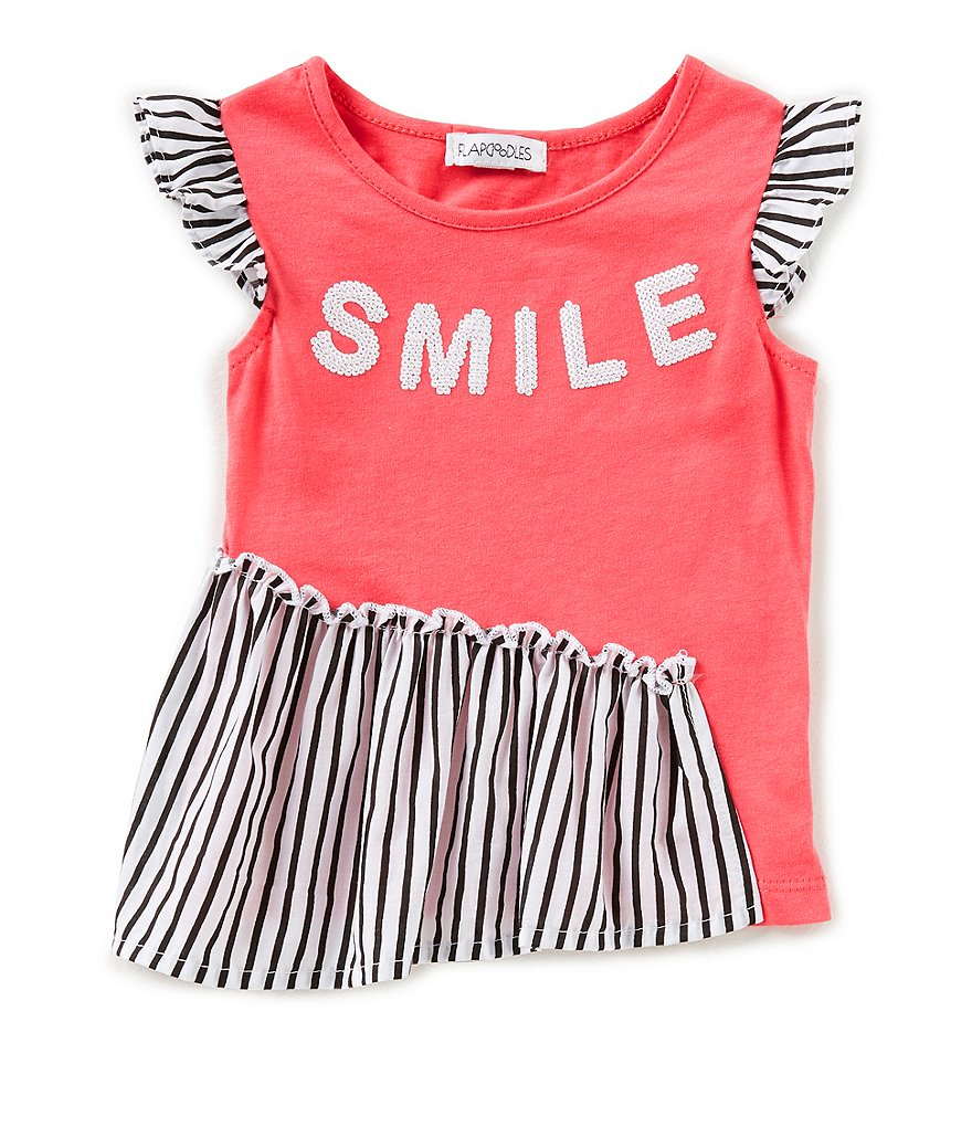 Flapdoodles Little Girls 2T-6X Smile Flutter-Sleeve Top