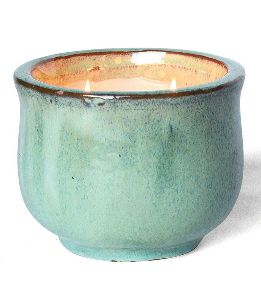 FlashPoint Posh Pot French Linen Two-Wick Glazed Pottery Candle