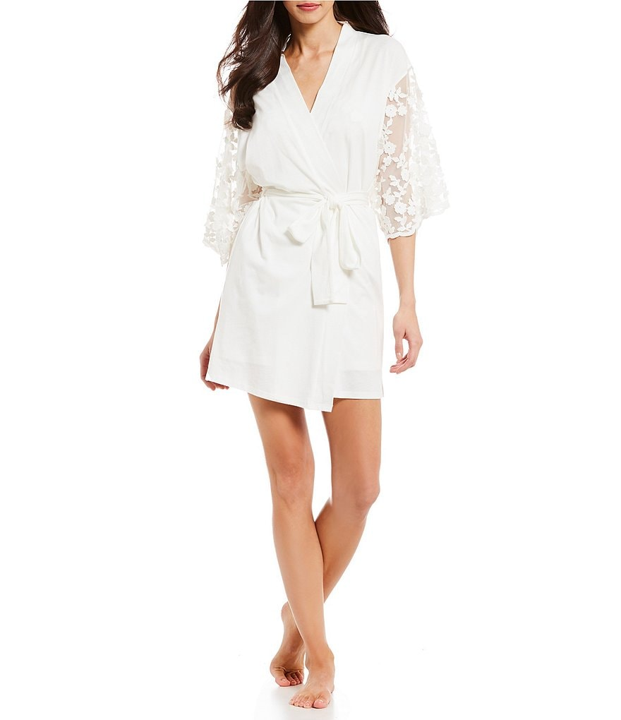 Flora Nikrooz Alexiss Embroidered Sleeved Wrap Robe