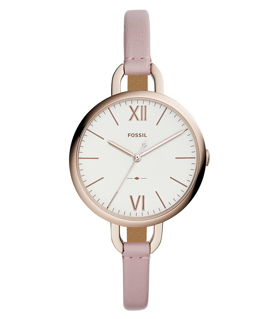 Fossil Annette Three-Hand Pastel Pink Leather Watch