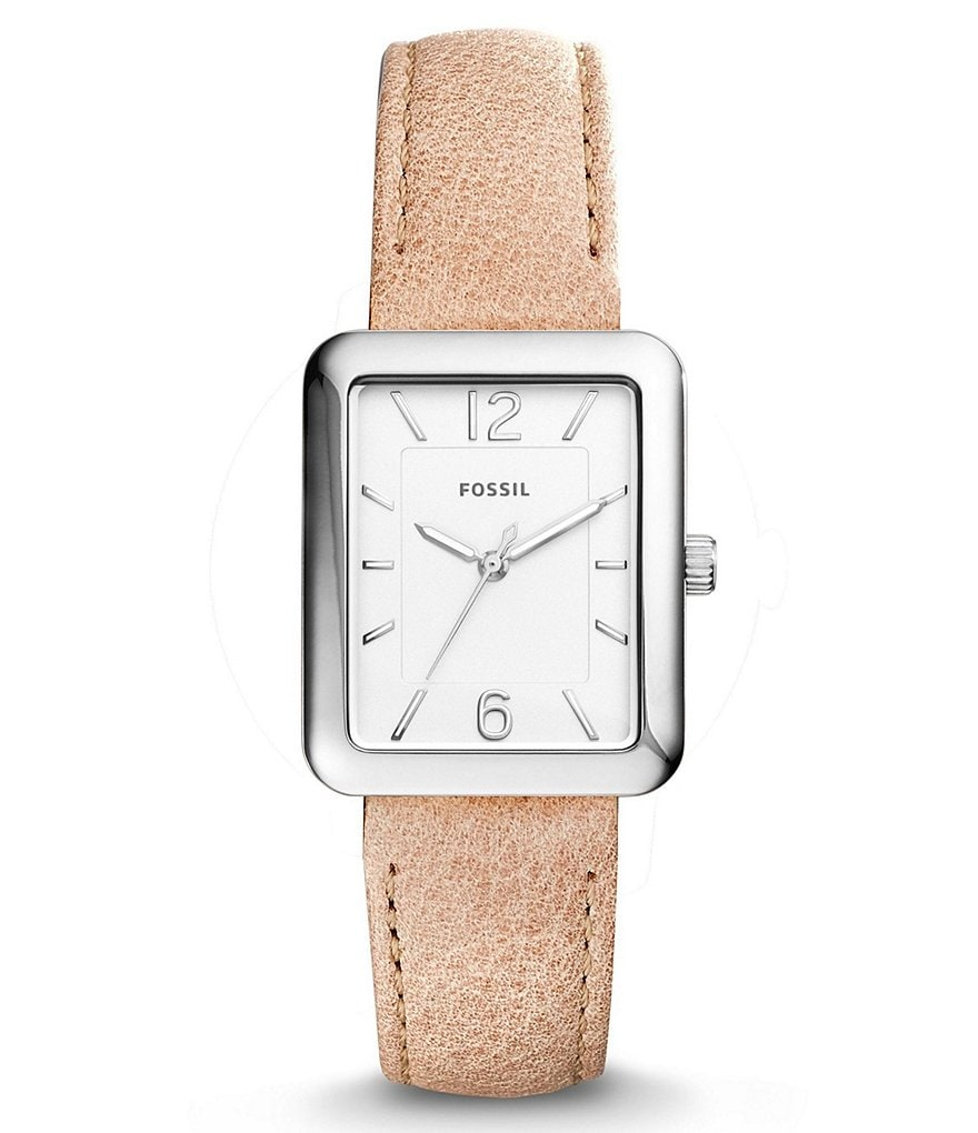 Fossil Atwater Rectangle Analog Leather-Strap Watch