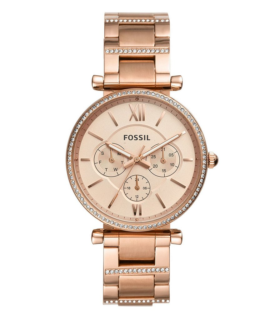 Fossil Carlie Multifunction Rose Gold-Tone Stainless Steel Watch