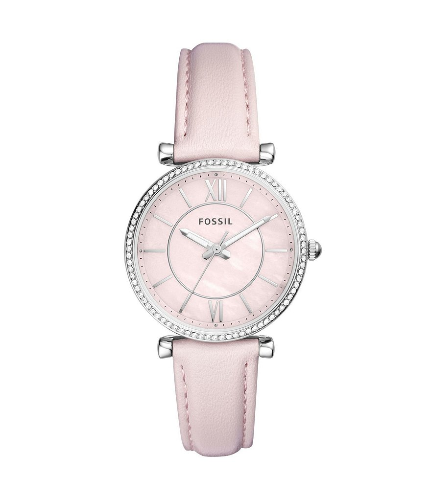 Fossil Carlie Three-Hand Pastel Pink Leather Strap Watch