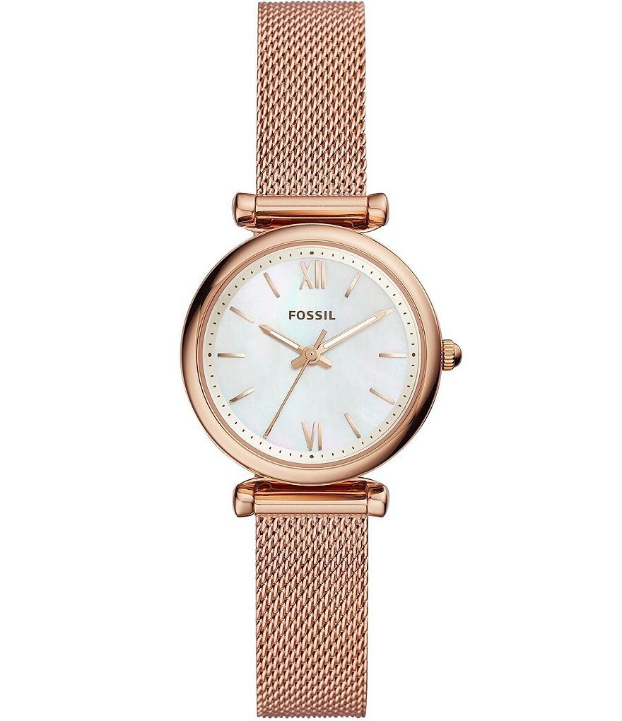 Fossil Carlie Three Hand Rose Gold Tone Stainless Steel With Mesh Bracelet Watch