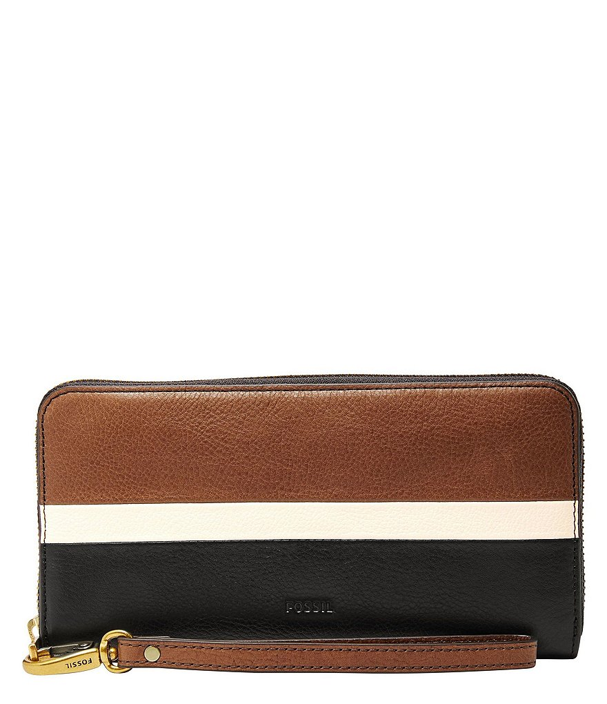 Fossil Emma RFID Colorblock Large Zip Wallet