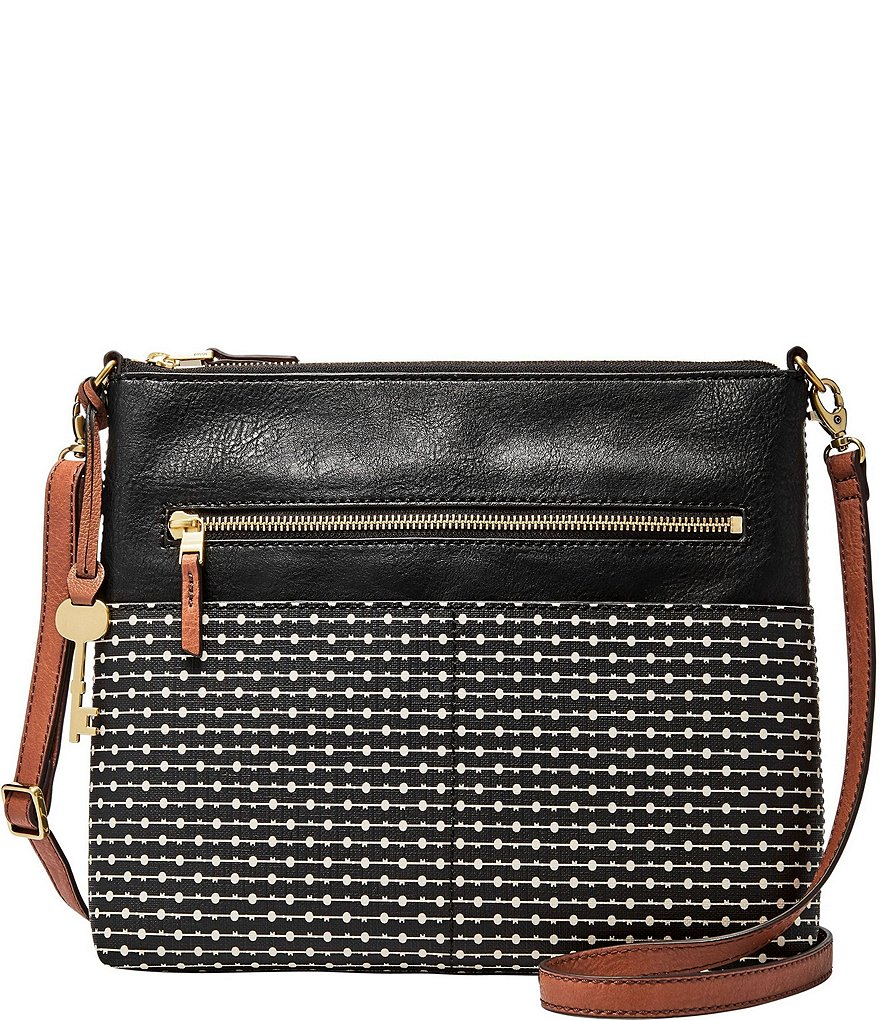 Fossil Fiona Striped Large Cross-Body Bag