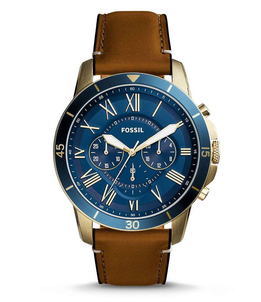 Fossil Grant Sport Chronograph Leather-Strap Watch