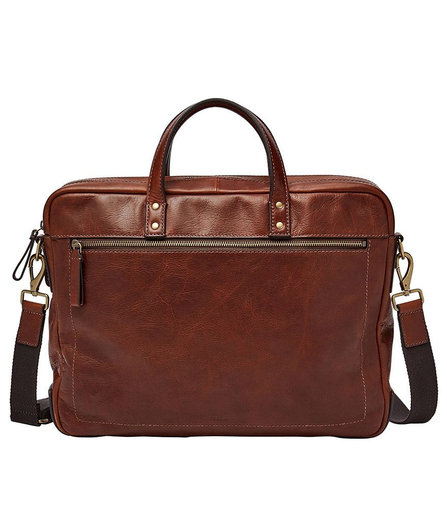Fossil Haskell Leather Laptop Double Zip Workbag