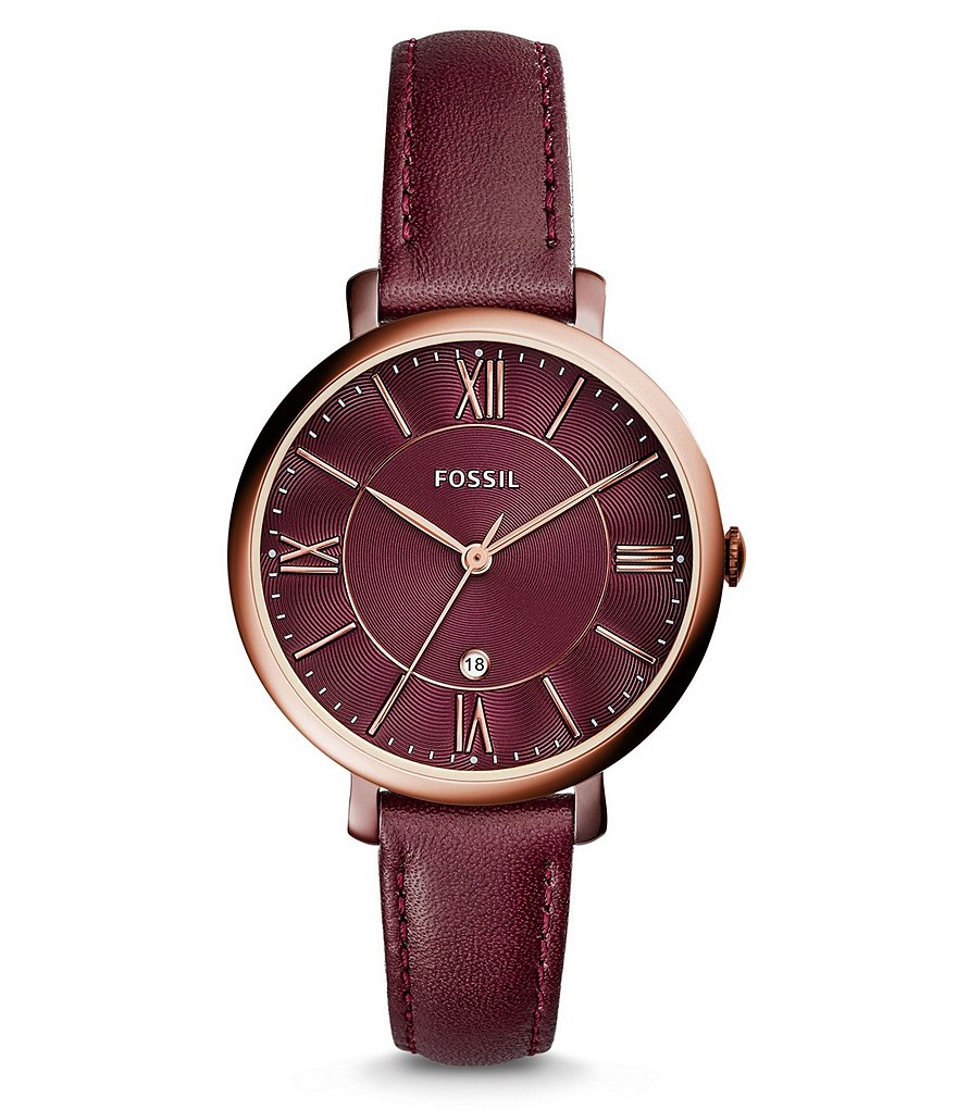 Fossil Jacqueline Analog Leather-Strap Watch