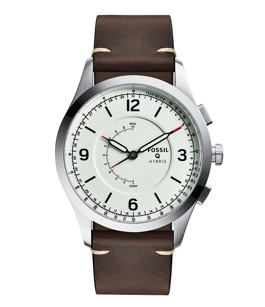 Fossil Q Activist Leather-Strap White Dial Hybrid SmartWatch