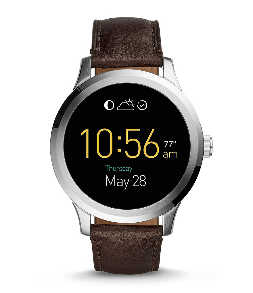 Fossil Q Founder Leather Strap Stainless Steel Smart Watch