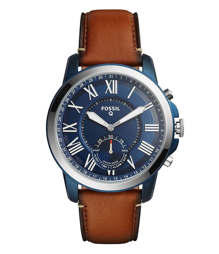 Fossil Q Grant Leather-Strap Blue Dial Hybrid SmartWatch