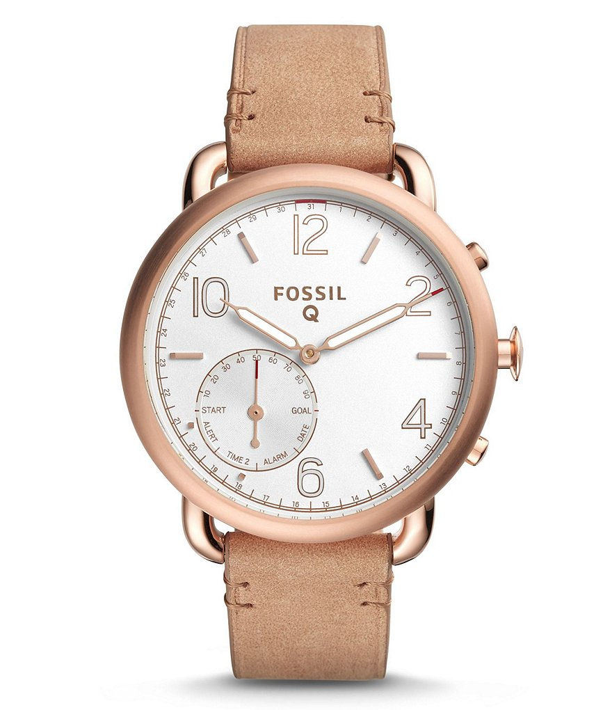 Fossil Q Tailor Leather-Strap Hybrid Smart Watch