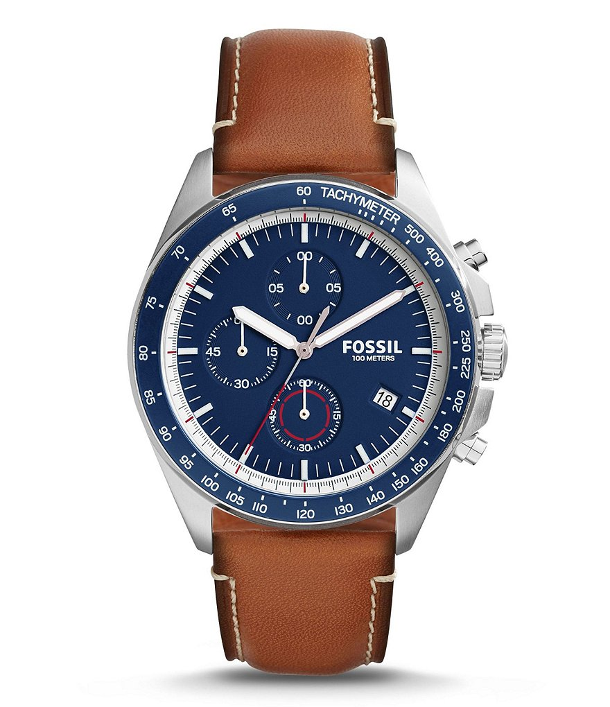 Fossil Sport 54 Chronograph & Date Leather-Strap Watch