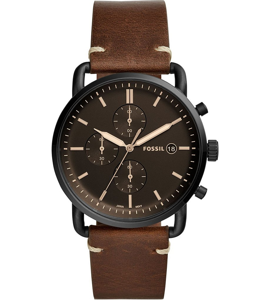 Fossil The Commuter Chronograph Black Dial Brown Leather Watch