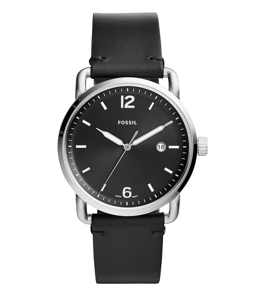Fossil The Commuter Three-Hand Date Black Leather Watch Band