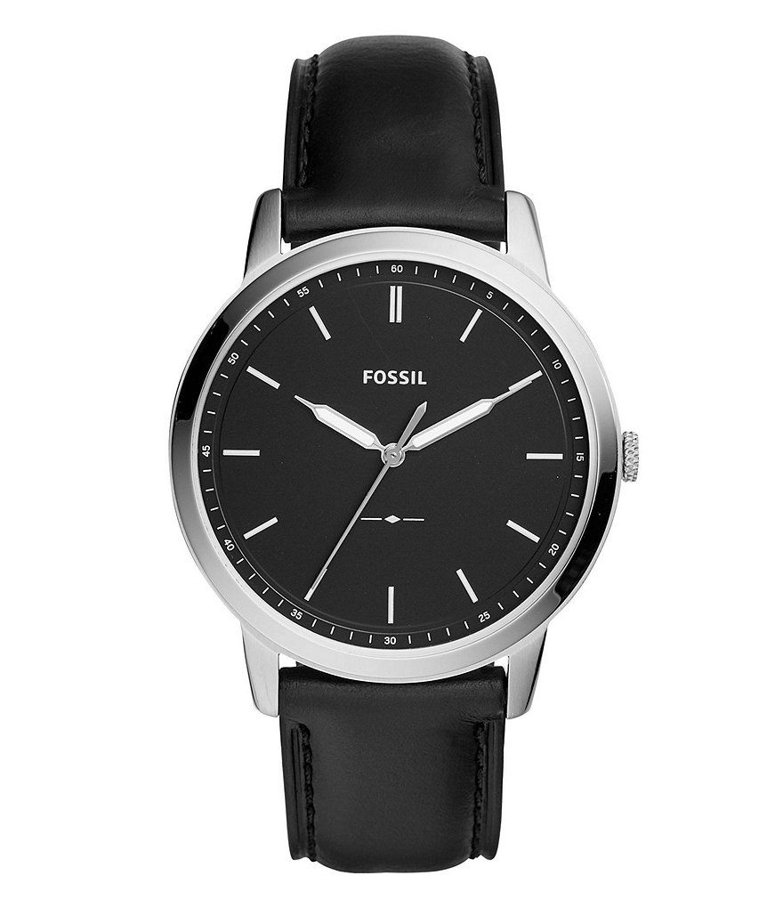 Fossil The Minimalist Three-Hand Black Leather Watch