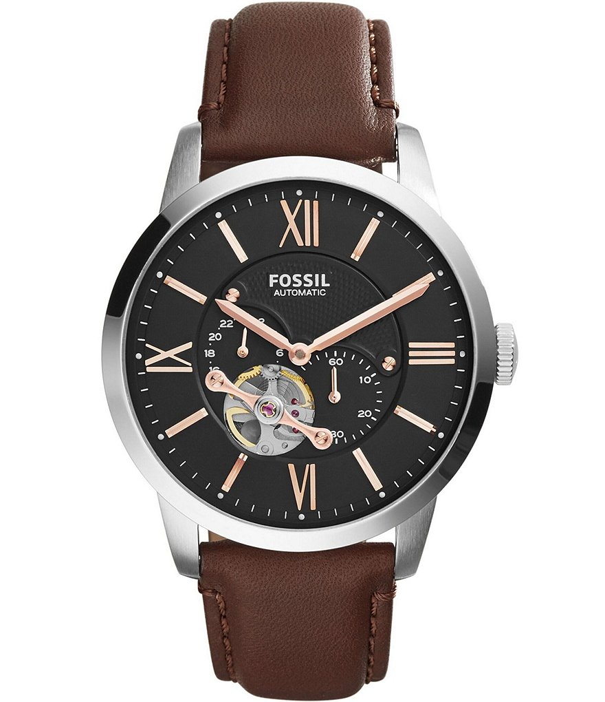 Fossil Townsman Automatic/Multifunction Brown Leather Watch
