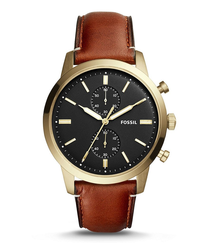 Fossil Townsman Chronograph Leather-Strap Watch