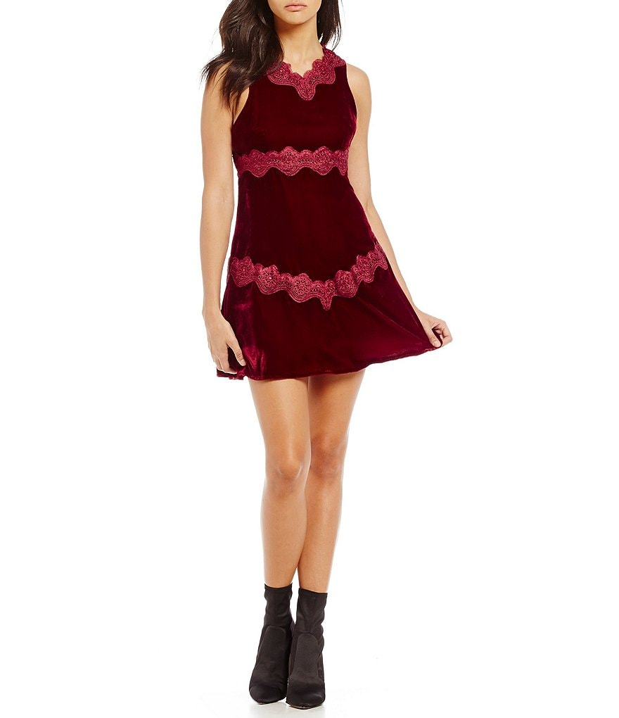 Foxiedox Antila Velvet Lace Shift Dress