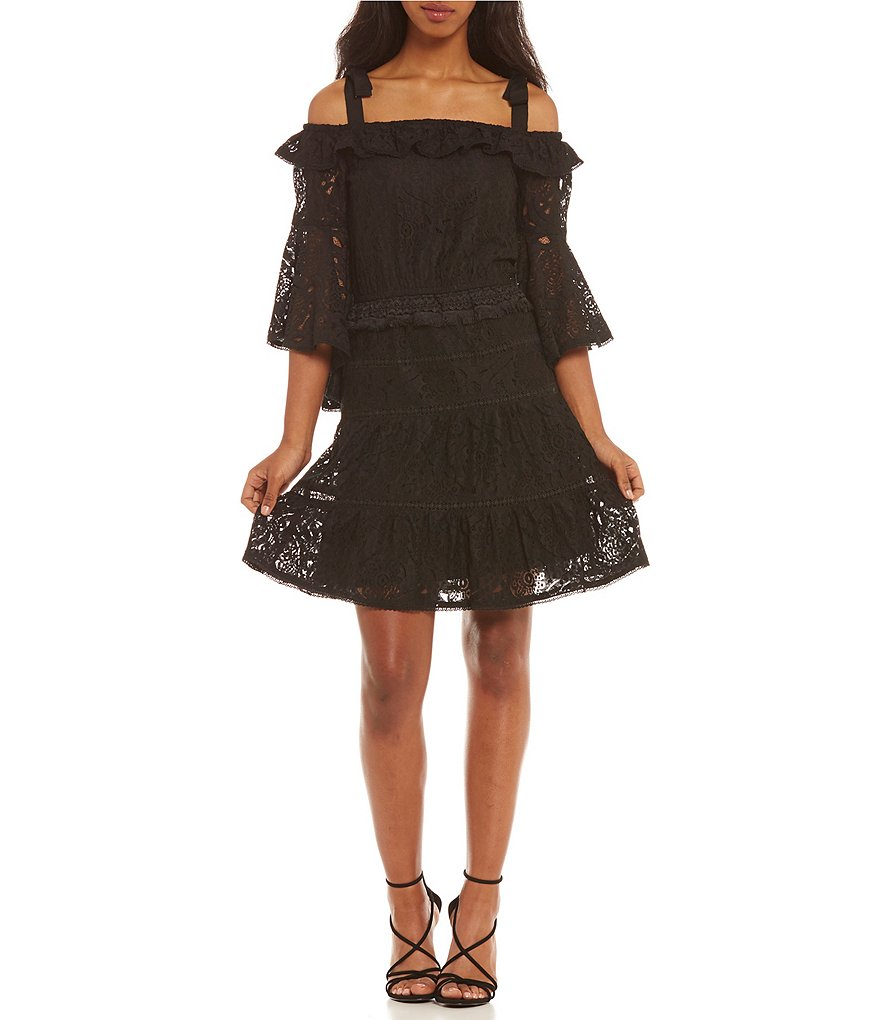 Foxiedox Berry Lace Bell Sleeve Tie Strap Cold Shoulder Shift Dress