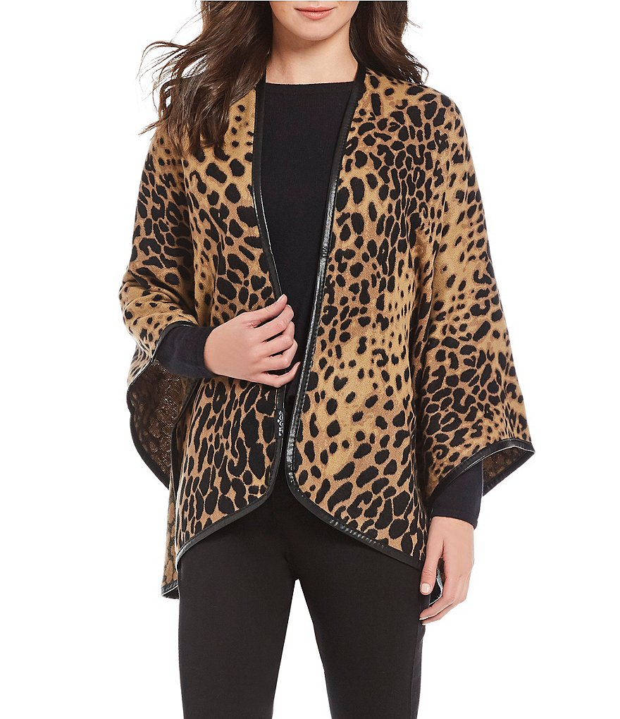 Fraas Leopard Wrap with Leather Trim