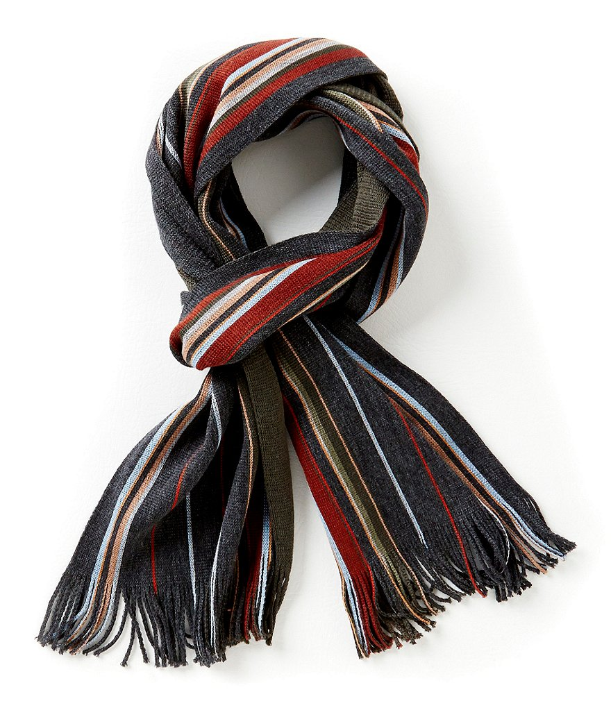 Fraas Reversible Color Block Striped Raschel Scarf