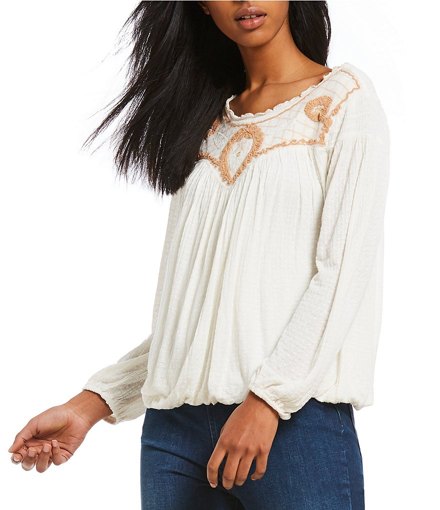Free People Begonia Embroidered Peasant Tee