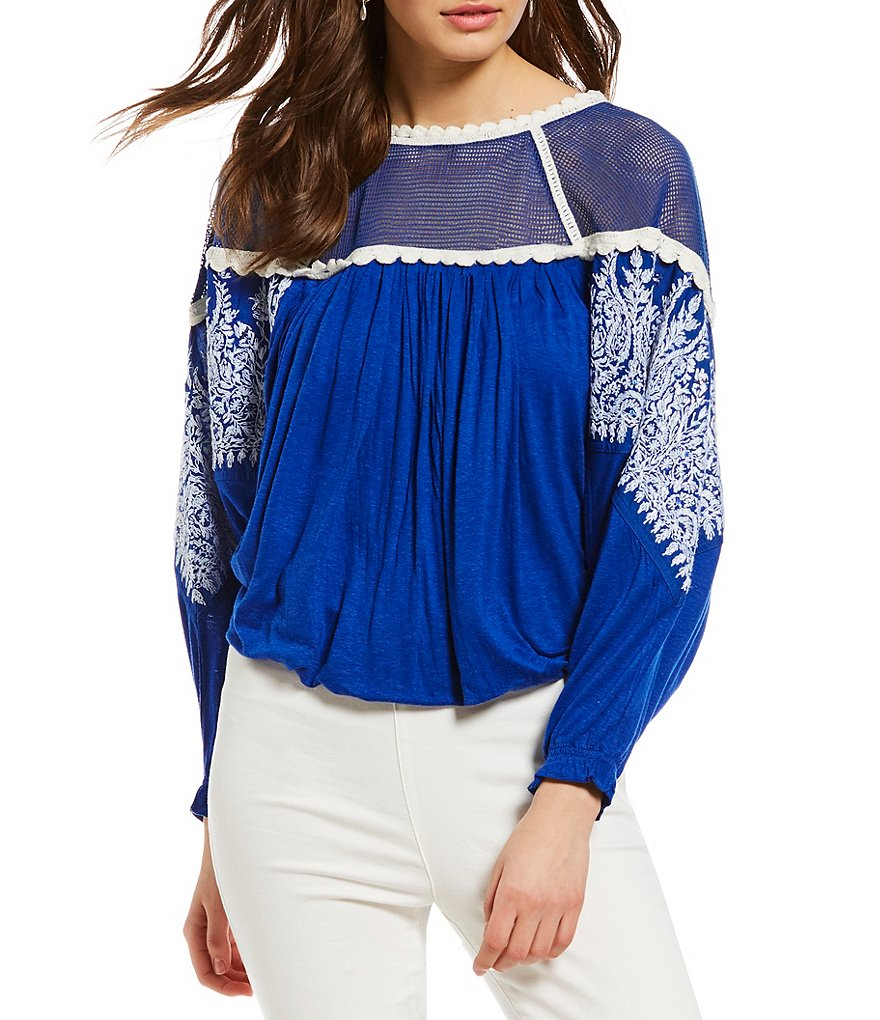 Free People Carly Mesh Embroidered Top