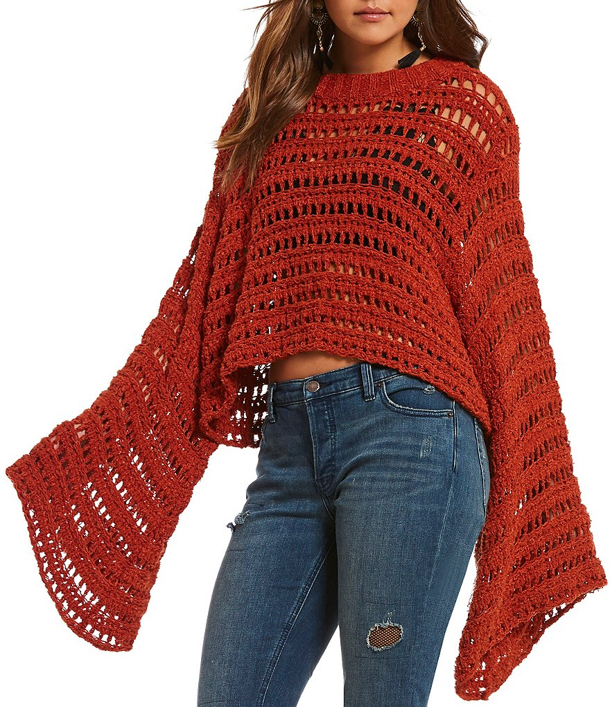 Free People Caught Up Bell Sleeve Cropped Crochet Sweater