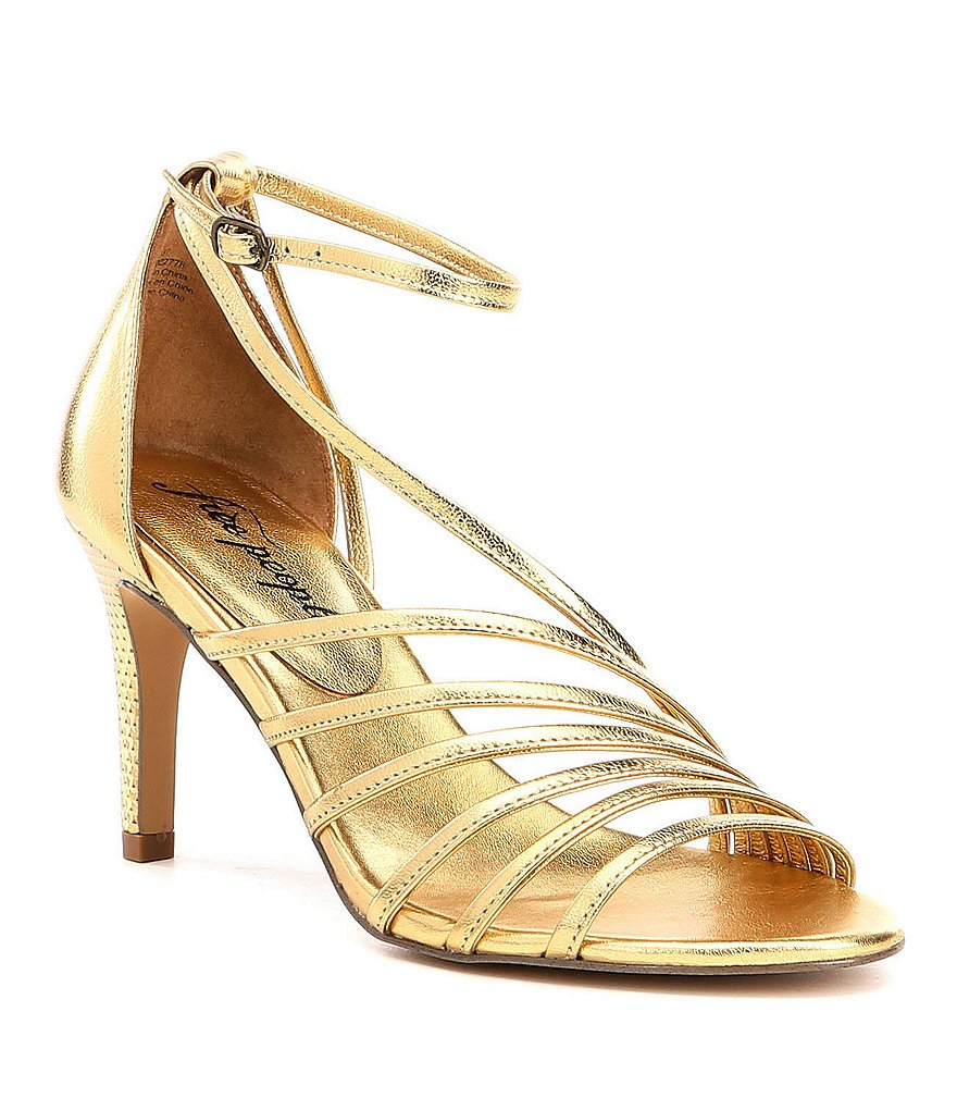 Free People Disco Fever Metallic Leather Ankle Strap Dress Sandals