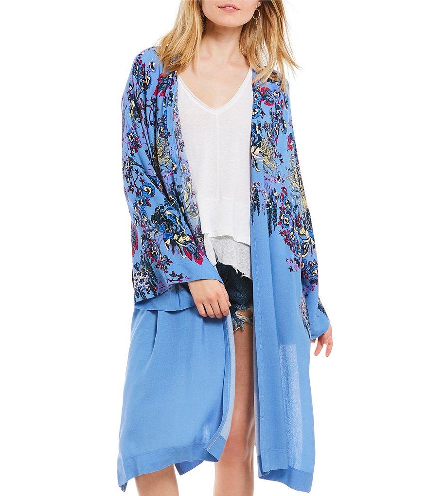 Free People Don't Know Boho Floral Print Bell Sleeve Kimono Caftan Duster