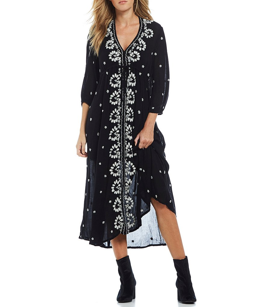Free People Embroidered V-Neck Midi Dress