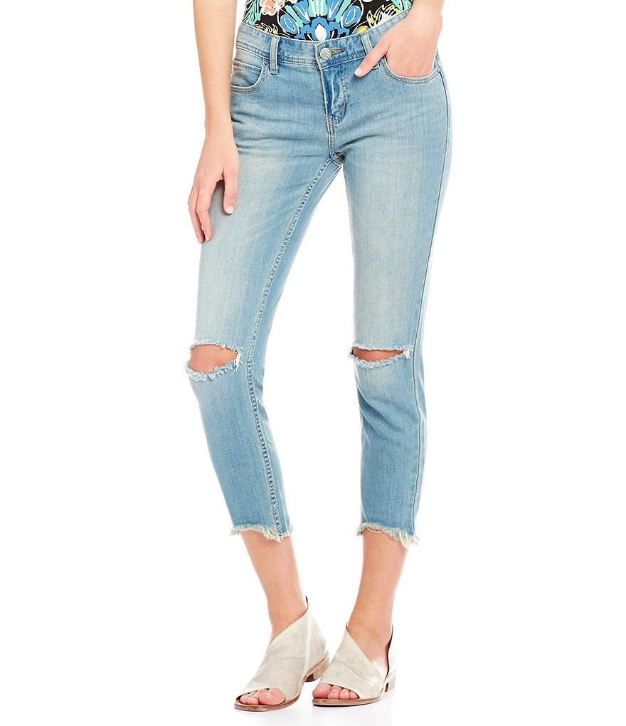 Free People Frayed Hem Skinny Destroyed Ankle Jeans