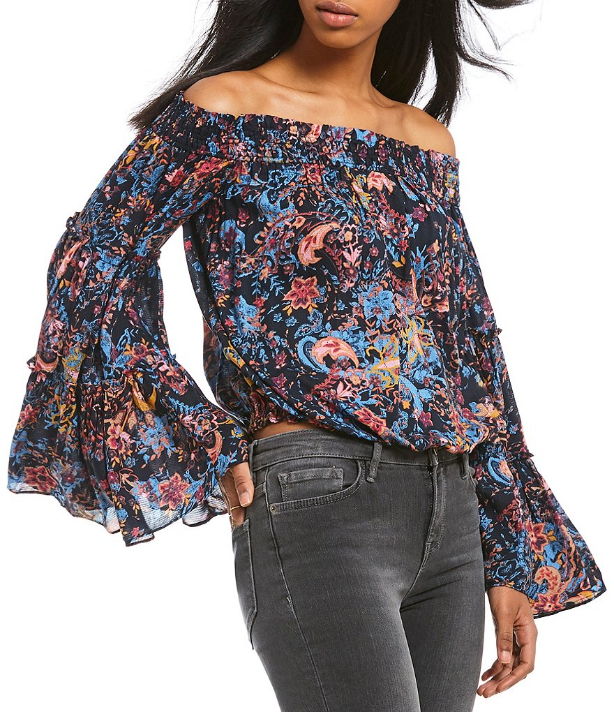 Free People Free Spirit Off the Shoulder Peasant Top