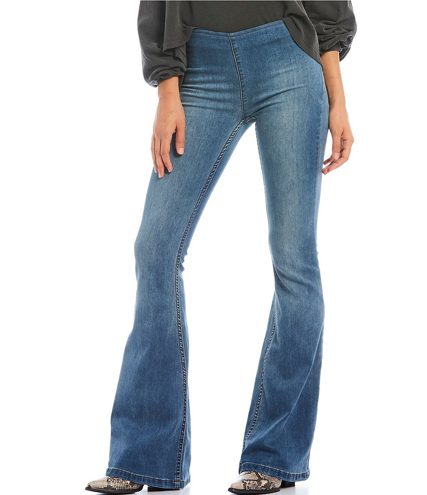 Free People We the Free Gummy Flare Leg Pull-On Jeans