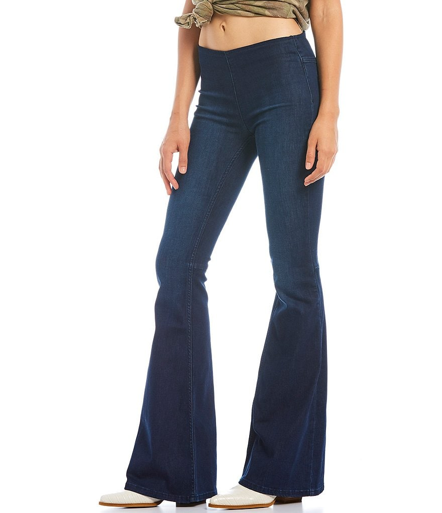 Free People We the Free Gummy Flared Pull-On Jeans